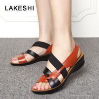 LAKESHI Women Sandals PU Leather Casual Women Shoes Fashion Mother Shoes Wedges Sandals Mixed Colors Ladies
