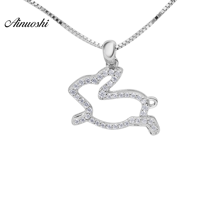 AINOUSHI Animal 925 Sterling Silver Accesaries For Women Cute Animal Rabbit Silver Jewelry Women Trendy Fashion Pendant NecklaceAINOUSHI Animal 925 Sterling Silver Accesaries For Women Cute Animal Rabbit Silver Jewelry Women Trendy Fashion Pendant Necklace