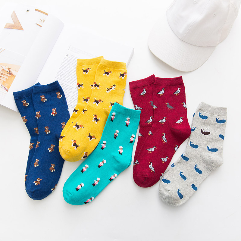 LNRRABC New Fashion 5 Colors 1Pair Comfortable Women Colorful Dog Whale Bird Bear High elasticity Middle Section Cotton   Socks