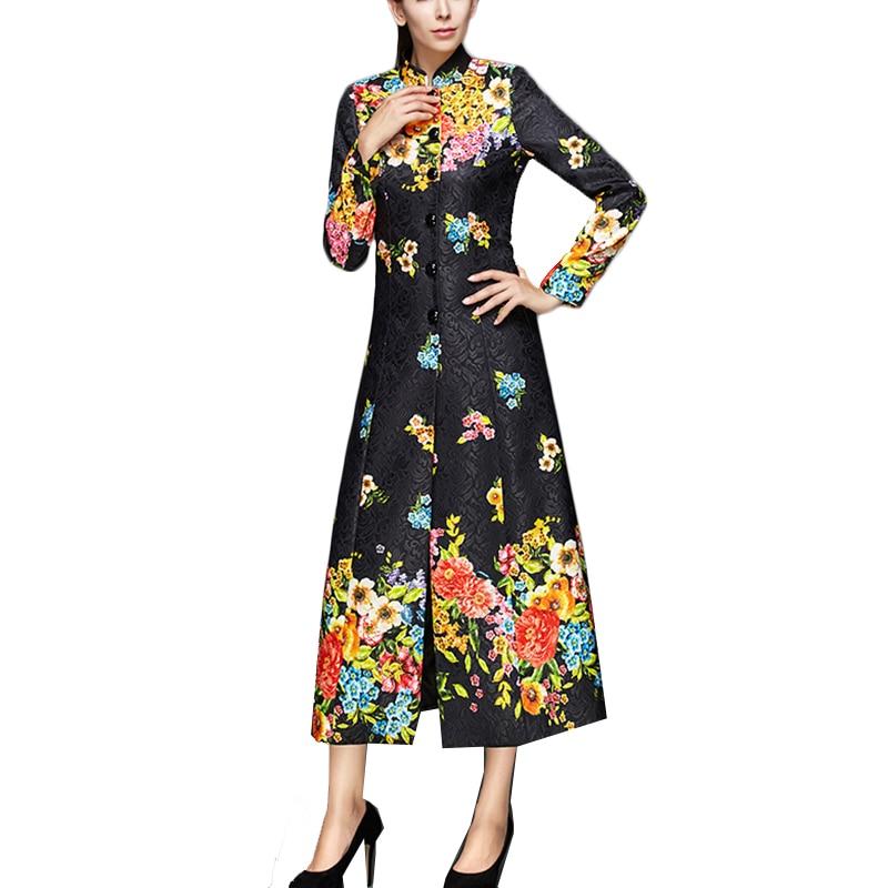 Impression Longues Outwear Long Print À Printemps Européenne 2018 Black Coupe Tranchée Ultra Rétro vent Taille La Plus Manteau Longue Femmes Manches twqPIR6xI