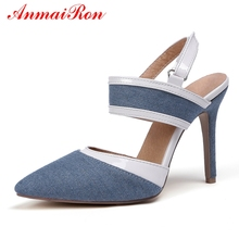 ANMAIRON Basic Super High Thin Heels Denim Women Shoes Pointed Toe Casual Hook amp Loop Women High Heels Size 34-40 LY871 cheap Super High (8cm-up) Fits true to size take your normal size Fashion Shallow Synthetic Spring Autumn Rubber Pumps LY20190118871