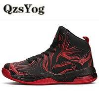 QzsYog Men Basketball Shoes High Top Sneakers Mujeres Zapatos de Deporte Al Aire Libre Canasta Hombre Transpirable Botines Negro Cojín de Aire