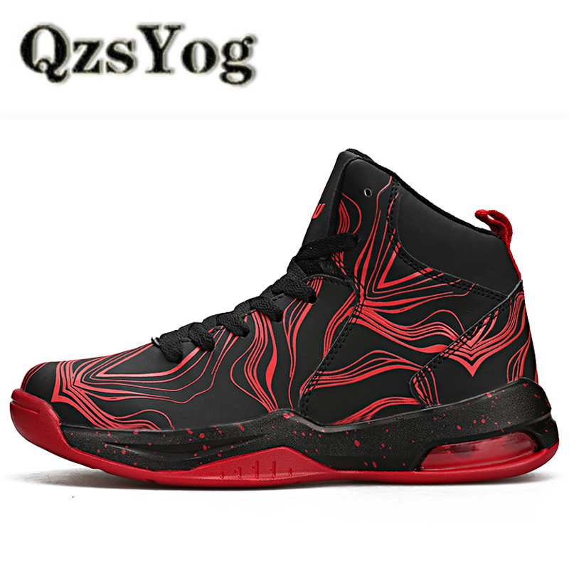 QzsYog Men Basketball Shoes High Top Sneakers Women Outdoor Sport Shoes Basket Hombre Breathable Ankle Boots Air Cushion Black