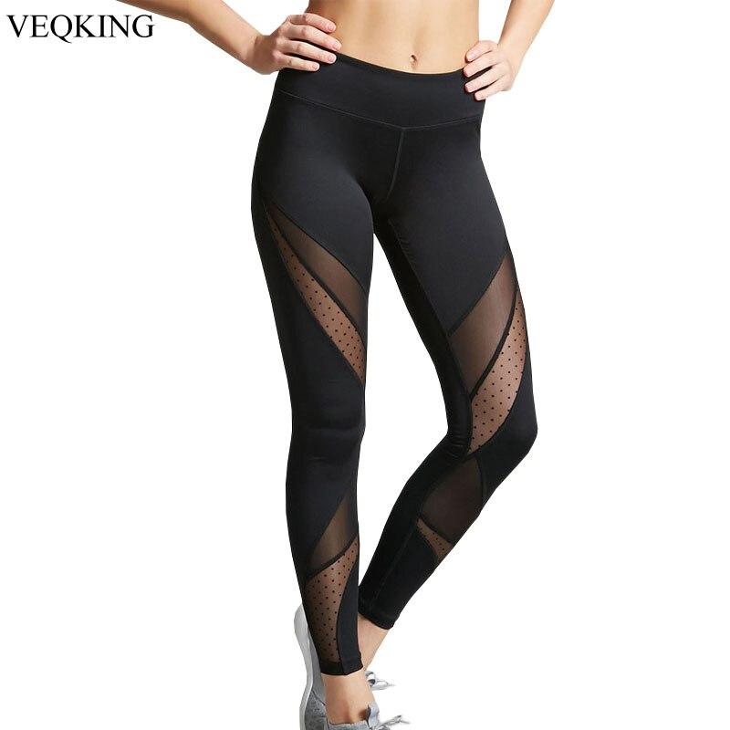Women Mesh Leggings Fitness Workout Patchwork Running Stretch Yoga Leggings 2019