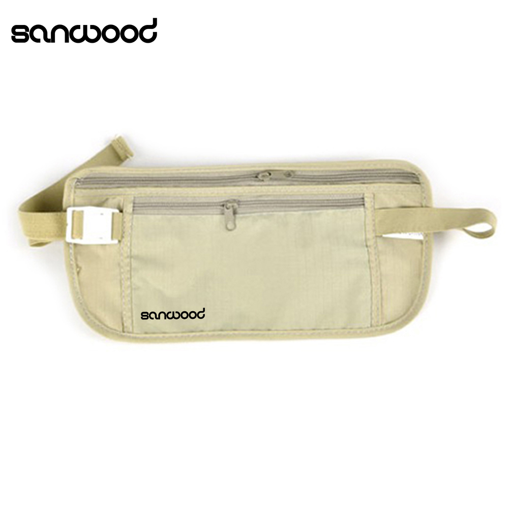 Women's Casual Traveling Storage Zipper Waist Bag outdoor traveling nylon thicken zipper passport storage bag black