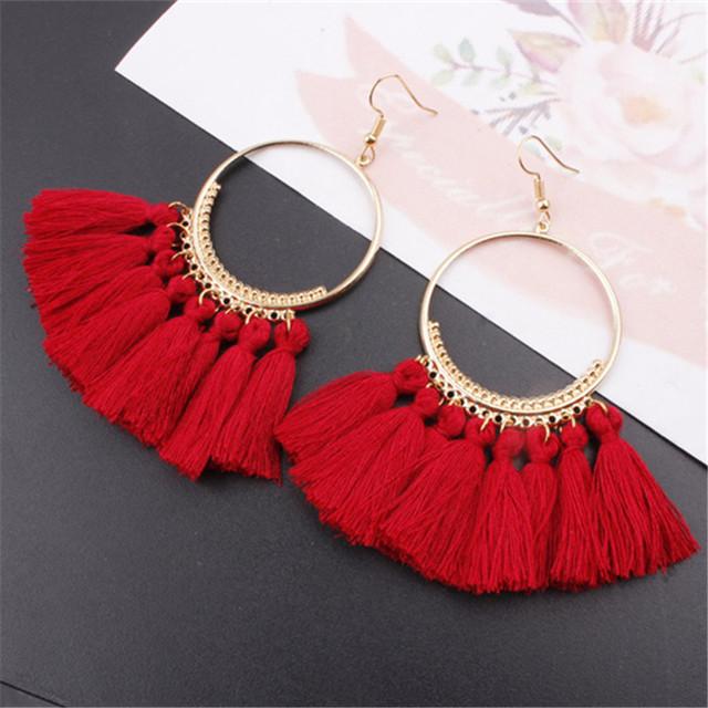 17 colors Tassel Earrings For Women Ethnic Big Drop Earrings Bohemia Fashion Jewelry Trendy Cotton Rope Fringe Long Dangle