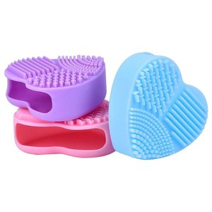 Image 2 - 1PC Silicone Fashion Heart Shape Egg Cleaning Glove Makeup Washing Brush Scrubber Tool Cleaners Cleaning Brush OK 0806