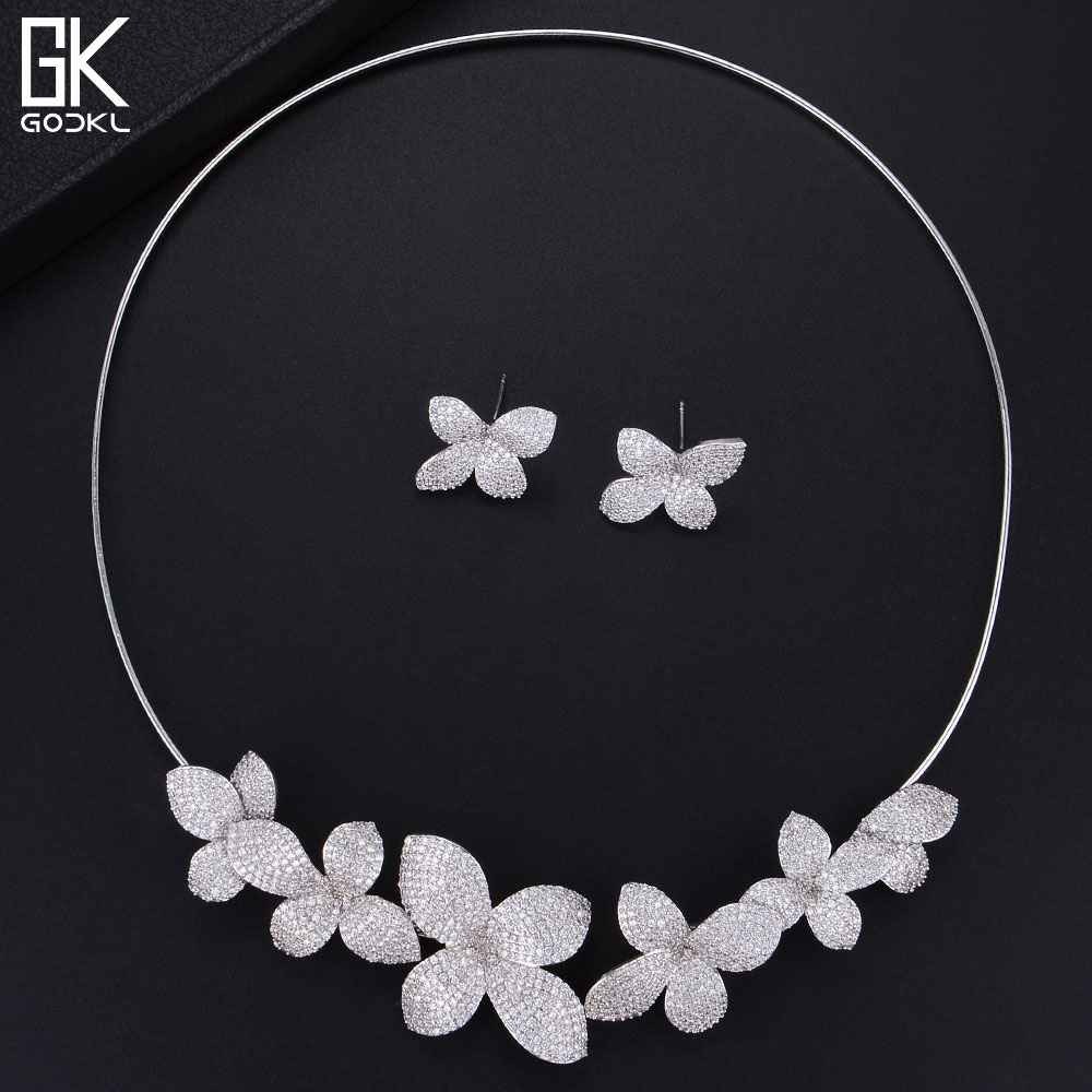 GODKI Luxury Flowers Necklace Earring Sets Cubic Zircon jewelry Sets for women Wedding African Dubai Silver Bridal Jewelry Sets round flowers pendant necklace and stud earring jewelry set for women with aaa cubic zircon hight quality fashion jewelry sets