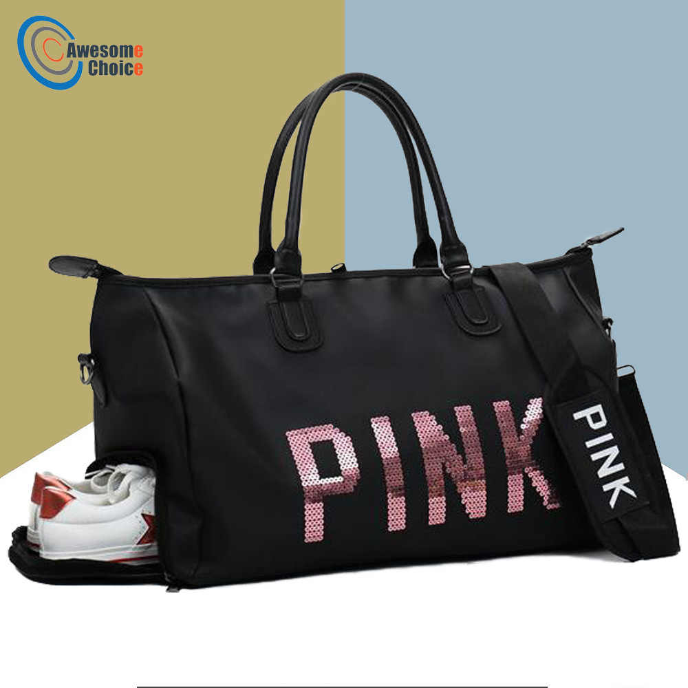 Female Fitness PINK Gym Bag Shoes Ladies Nylon Large Training Shoulder Yoga  duffel Pink Women Outdoor c2cce0c7be4e6