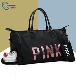 Female Fitness PINK Gym Bag Shoes Ladies Nylon Large Training Shoulder Yoga duffel Pink Women Outdoor travel sac de sport bags