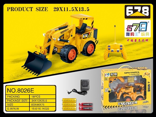678Toys 8026E 5ch Remote Control RC Construction Excavator Road Roller Truck Trailers Car Flash Colorful
