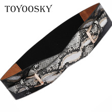 2018 Designer Winter Snake Women Wide Belt PU Elastic Belts with Two Buckle belts for women Coat Female High Quality TOYOOSKY pu timing belt coated with apl two types