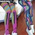 Kawaii Coreano Hiphop Moda de Rua Hippie Mulheres Multicolor Geométrica Impresso Graffiti Harajuku Apertado Calças Justas, meia-calça collant