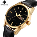 Men Watches Top Brand Date Day Genuine Leather Clock Luxury Gold Casual Watch Men's Quartz Sports Wrist Watch Relogio Masculino