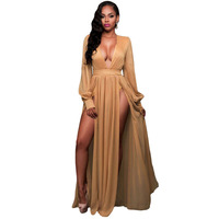 High Quality Deep V Neck Full Sleeves Shimmer Mocha Blue Slit Goddess Dress Elegant Charming Double