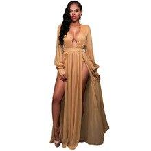Высокое качество глубокий V шеи Полный рукавами shimmer Мокко/синий разрез платье богини Элегантные Очаровательные двойной разрез спереди длинное платье женские