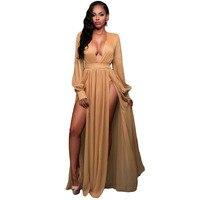 High Quality Deep V Neck Full Sleeves Shimmer Mocha Blue Slit Goddess Dress Elegant Charming Double