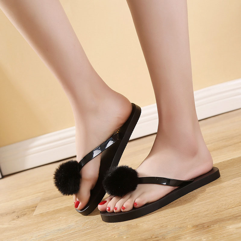 Ms. New Summer Artificial hair Slipper Ms. Furry Fox Slippers Slip Sandals Slippers Women Slippers #10