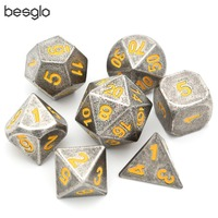 Polyhedral Metal Dice with Black Drawstring Pouch for DnD RPG MTG Board Games D4 D6 D8 D10(0 9, 00 90) D12 D20 Yellow Number