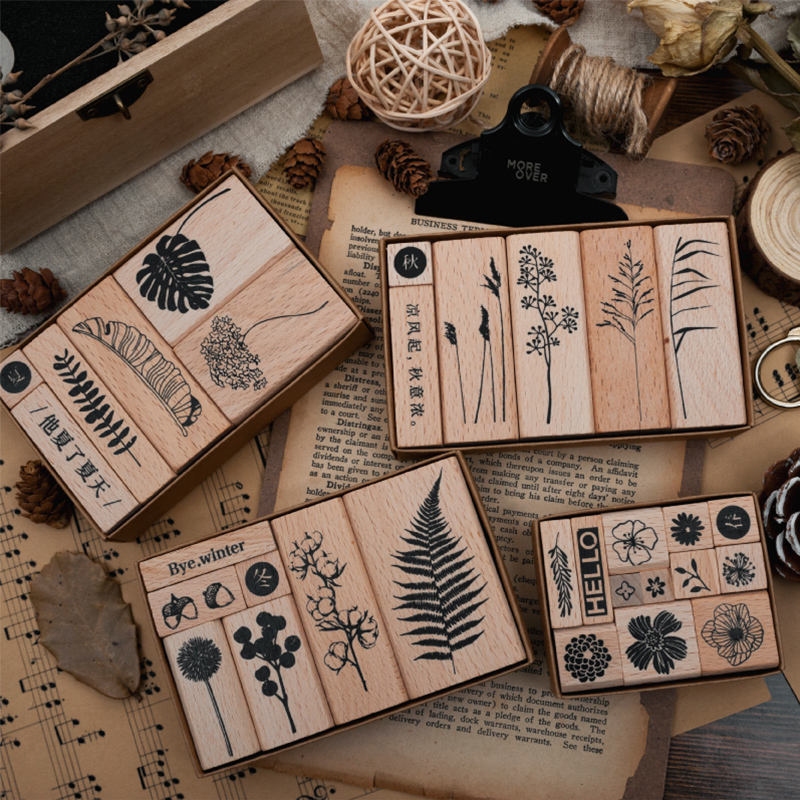 1 Set Vintage Plant Set Stamp DIY Wooden Rubber Stamps For Scrapbooking Stationery Scrapbooking Standard Stamp