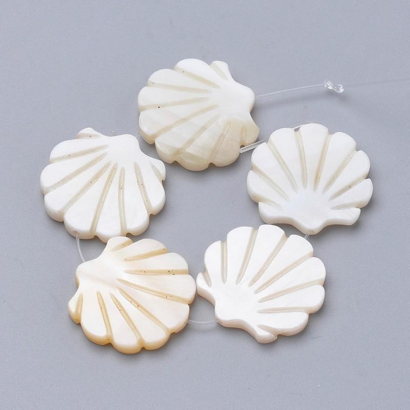 5pcs/lot Freshwater Shell Beads Scallop Shape Bead for Women Jewelry Making