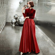 Dark Red Womens V-Neck Evening Cheongsam Wedding Party Dress Elegant Prom Dress Maxi Qipao Long Ball Gown Retro Vestido XS-XXXL(China)