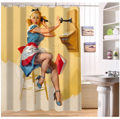 U408 21 Custom Home Decor Pin Up Fabric Moden Shower Curtain European Style Bathroom Waterproof In Curtains From Garden On Aliexpress