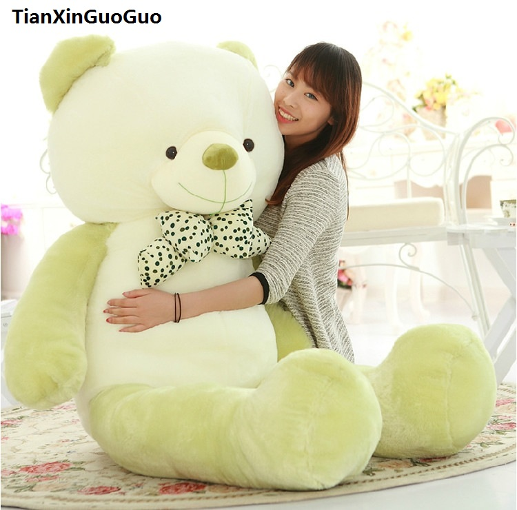 fillings plush toy huge 160cm bowtie teddy bear green bear doll soft hugging pillow,birthday gift h0707 мужские часы casio efr 526l 7a