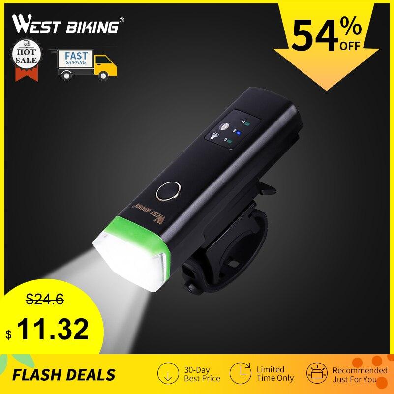 WEST bicicleta luz delantera de bicicleta brillante luz de carga USB linterna ciclismo antorcha impermeable Faro de bicicleta