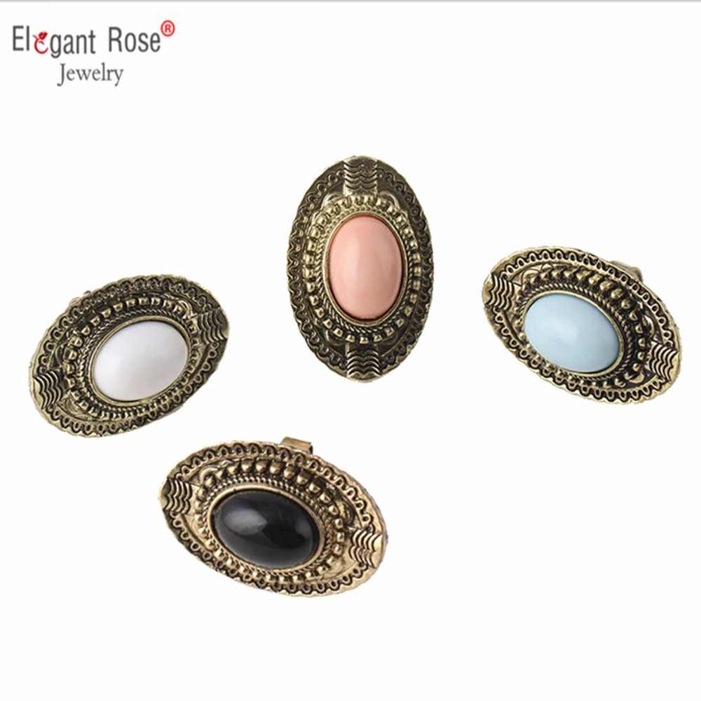Vintage Boho Antique Gold Big Resin Stone Carved Rings Fashion Bohemian Adjustable Ring Jewelry for Women Wholesale Bague Femme