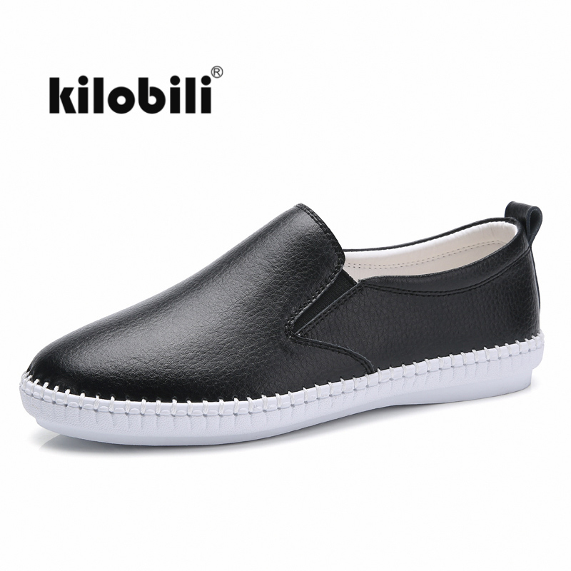 kilobili Autumn women loafer flat shoes ballerina flats women Moccains slip on   suede     leather   ladies casual boat shoes Black