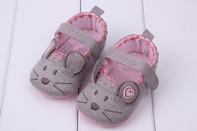 Cute Baby Girls First walkers Cotton Grey Cartoon Mouse Soft with Pattern Shading Soft Sole Baby Toldder Prewalkers Shoe 3 size 1