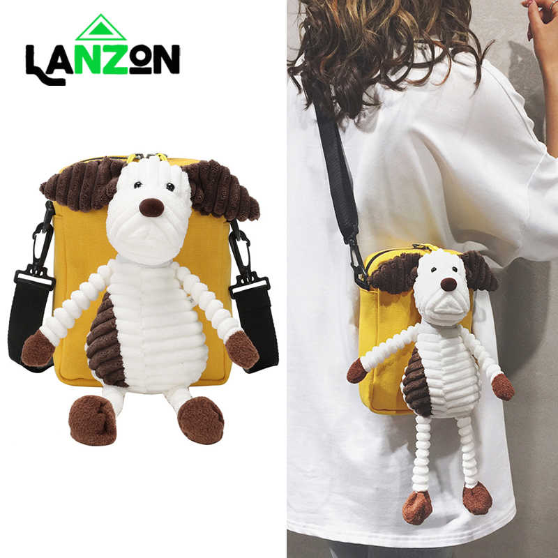 Messenger Bag with Doll Shoulder Bags for Women Girls Kids Fashion Canvas Bag Cute Cartoon Mobile Phone Handbag Crossbody Gifts