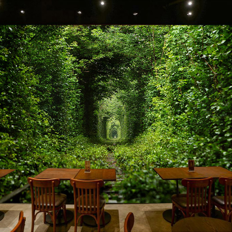 Large custom murals wallpaper green tunnel nature for Nature room wallpaper