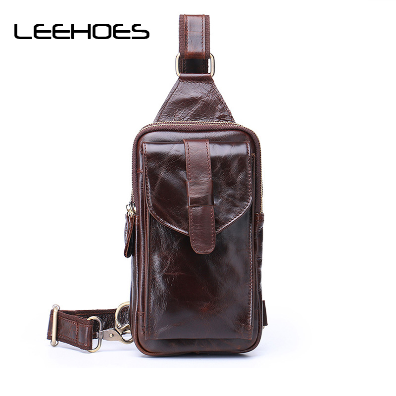 купить High Quality Fashion Genuine Leather Crossbody Bags Men Brand Small Male Shoulder Bag Casual Mens Music Chest Bags Messenger Bag по цене 5202.49 рублей