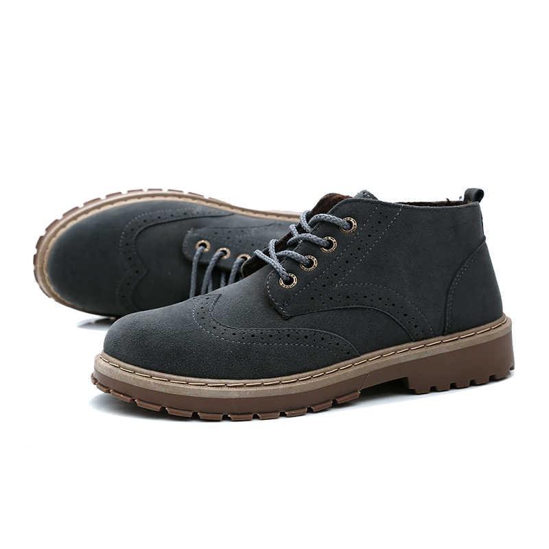 YEINSHAARS Neue Mens Oxfords Derby Brogue Schuhe Kleid Formale Schuhe Pelz Warme Stiefel Mode Leder Europa Luxus Gentry Stil