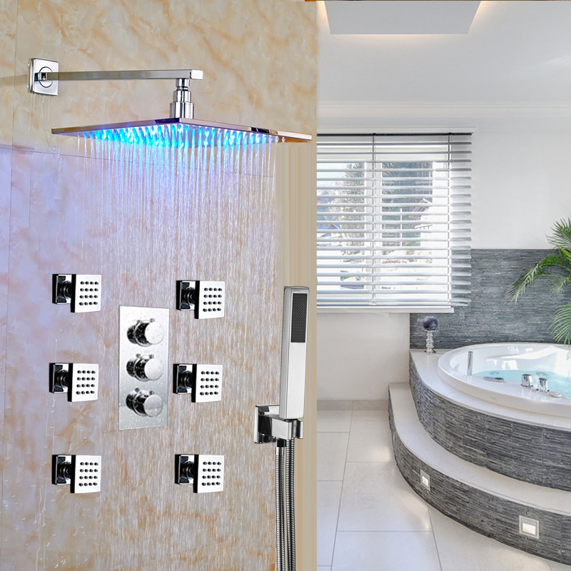 Thermostatic Shower Faucet Set Chrome LED Mixer Tap Spa Body Massage Spray Jets 12 Shower Head Wall Mounted kemaidi bathroom 10 led chrome shower faucet set thermostatic valve mixer tap w 6 message jets 50102b shower set