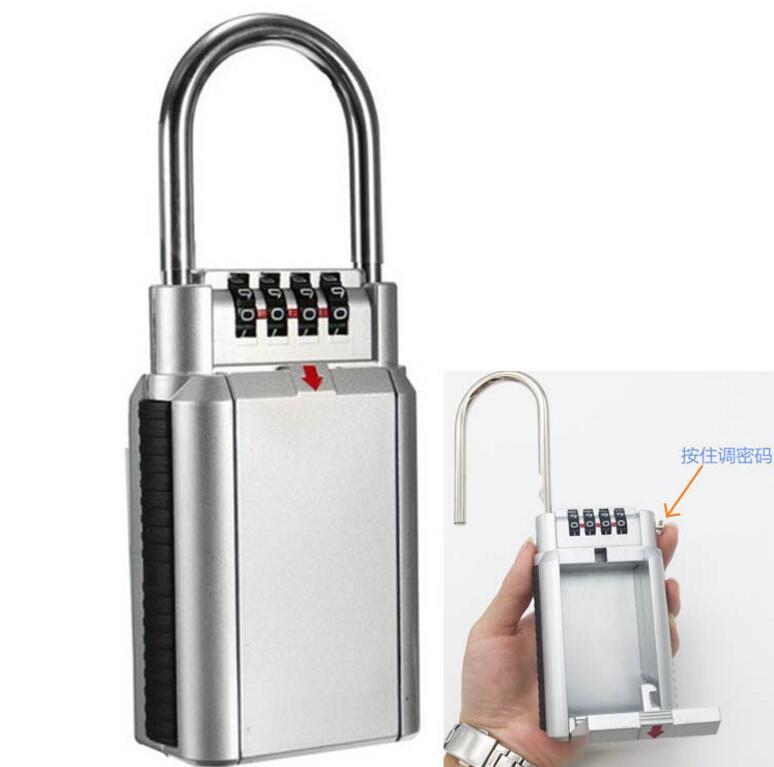 Keyed Locks Secret Security Padlock Key Storage Box Organizer Zinc Alloy Safety Lock With 4 Digit Combination Password