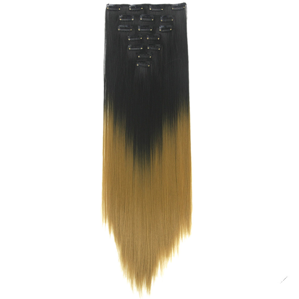 Gres Straight Ombre Clip in Hair Extension for Women Long False Hair High Temperature Fiber Synthetic Hair Extension Wig(China)