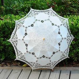 Image 3 - QUNYINGXIU Handwerk Spitze Weiß Dach Baumwolle Dekoration Hochzeit Fotografie Prop Europäischen dance Leistung Stickerei Regenschirm