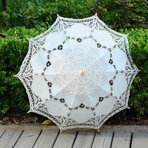 Image 3 - QUNYINGXIU מלאכת תחרה לבן מטריית כותנה קישוט חתונה צילום נכס אירופאי ריקוד ביצועים רקמת מטרייה