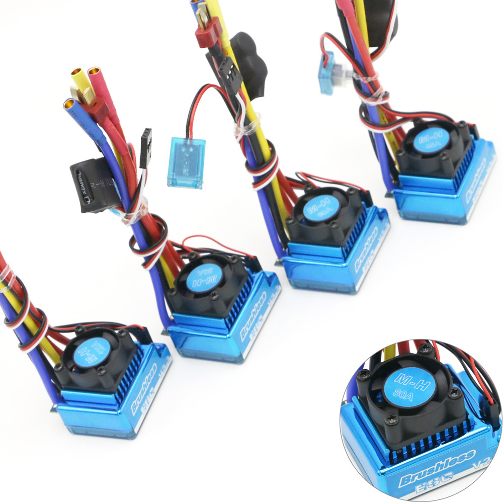 Waterproof 45A 60A 80A 120A Brushless ESC Electric Speed Controller Dust-proof for 1/8 1/10 1/12 <font><b>RC</b></font> Car Crawler <font><b>RC</b></font> Boat Part image