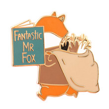 Fantastic Mr. fox smalto pin divertente libro di lettura distintivo del fumetto animale risvolto spilla creativo per bambini amici regalo(China)