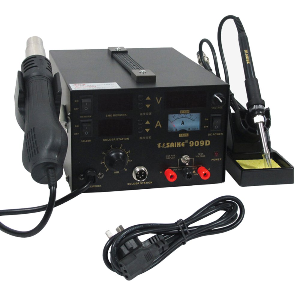 909D+ Soldering iron+Hot Air Gun+Power Supply 220V/110V SAIKE 909D Soldering/Hot air gun rework station 3 in 1909D+ Soldering iron+Hot Air Gun+Power Supply 220V/110V SAIKE 909D Soldering/Hot air gun rework station 3 in 1