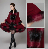 2016 Fashion Novelty Assorted Color Fox Fur Coat Shawl Cloak Women Wool Cashmere Long Double Overcoat Cape Poncho Winter New