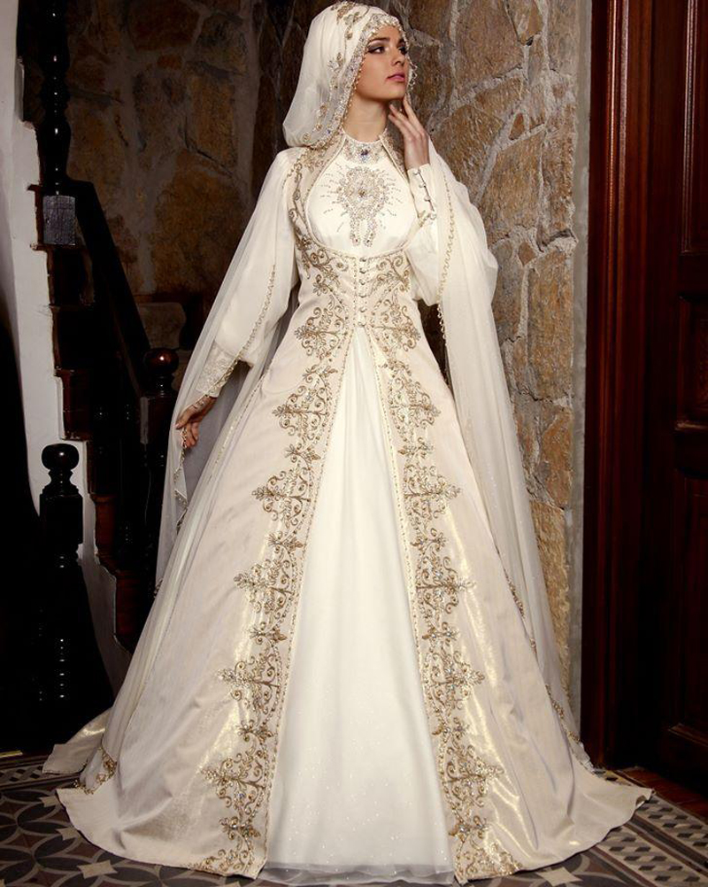 vestido de noiva Arabic Wedding Dress With font b Hijab b font Kaftan Dubai High Neck