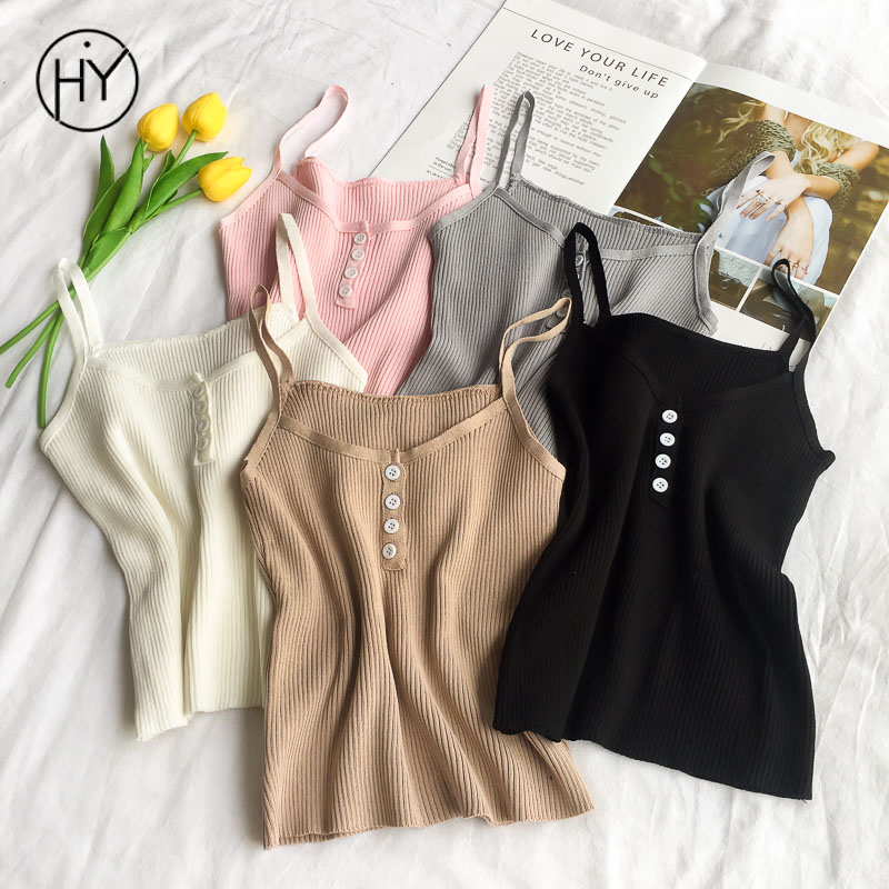 Acinth Girl Hy Tank Tops Women Summer Knitted Chic Crop Top White Tank Top Women Ladies Clothes Halter Top Casual Button 2018