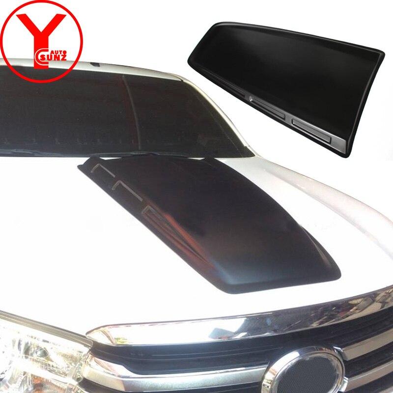 Mat noir Scoop Capot Hottes Couvre Pour Toyota Fortuner AN160 HILUX SW4 Revo 2015 2016 2017 2018 voiture partie accessoires YCSUNZ