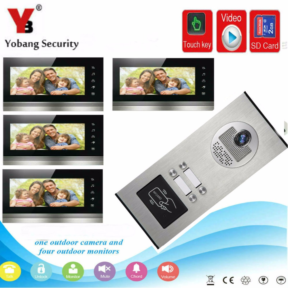 YobangSecurity 7 Inch Video Door phone Doorbell Camera Intercom System RFID Card With Video Recording and Photo Taking Function yobangsecurity 7 inch wire video door phone doorbell intercom system waterproof outdoor camera with raincover intercom system