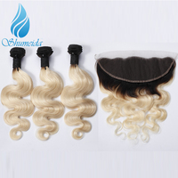 Shumeida Brazilian Remy Hair Body Wave 1b613 Hair Bundles With Frontal Ombre Blonde Human Hair Weft Ear to Ear Lace Frontal 13*4